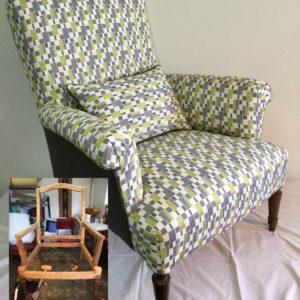 Restauration complète d'un fauteuil anglais