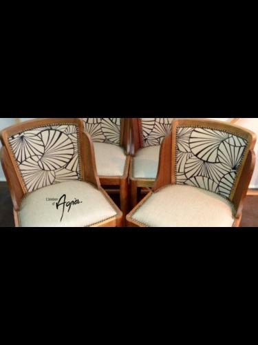 Réfection de 4 chaises Art Déco